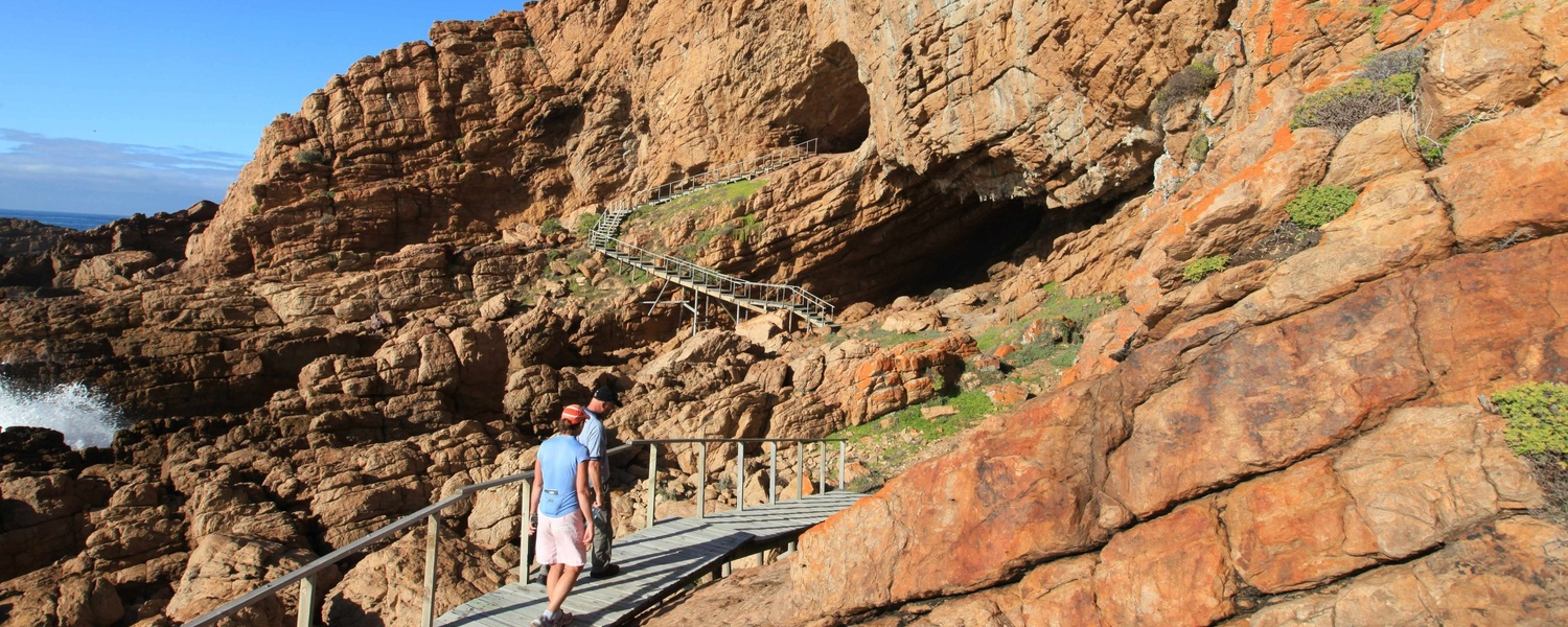 boardwalks and stairs to one of the oldest self catering apartments - cave 13B at Pinnacle Point, Mossel Bay, Human Origins